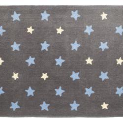 Tapete Retangular Grafite Estrela Azul/Amarelo 1,50m