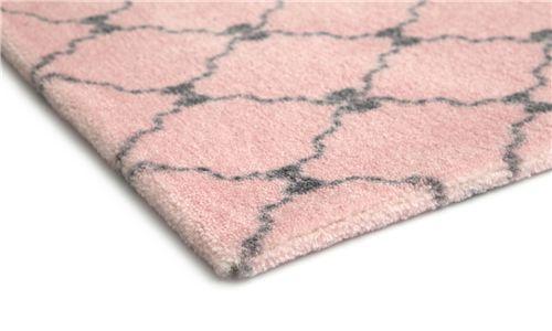 Tapete Retangular Rosa Lacinhos Cinza