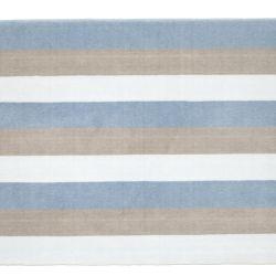 Tapete Retangular Listrado Tricolor Azul 95cm