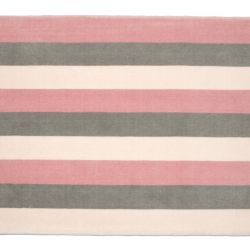 Tapete Retangular Listrado Tricolor Rosa 1,50m