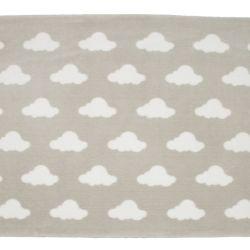 Tapete Retangular Cinza Nuvem Branco 1,50m