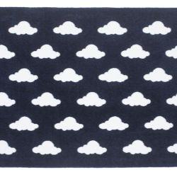Tapete Retangular Azul Marinho Nuvem Branco 1,50m