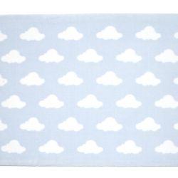 Tapete Retangular Azul Nuvem Branco 1,50m