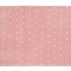 Tapete Retangular Rosa Poá Branco 1,50m