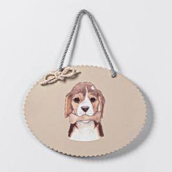 Placa Cachorrinho Amigo Beagle Bege