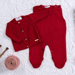 Saída Maternidade Tricot Cardigan Vermelho Cerejinha 03 Peças