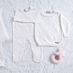 Saída Maternidade Tricot Suéter com Pérolas Branco 03 Peças