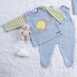 Saída Maternidade Tricot Elefantinho Azul/Amarelo 3 Peças