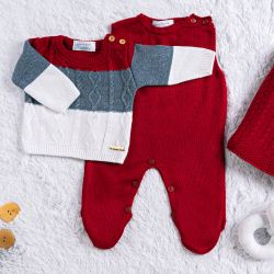 Saída Maternidade Tricot Trança Vermelho Napolitano 3 peças