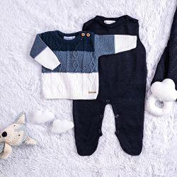 Saída Maternidade Tricot Trança Azul Marinho Napolitano 3 Peças