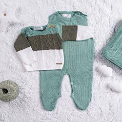 Saída Maternidade Tricot Trança Verde Napolitano 3 Peças