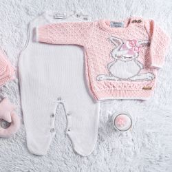Saída Maternidade Tricot Suéter Coelhinha Rosa 03 Peças