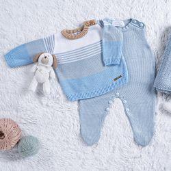 Saída Maternidade Tricot Listra Azul/ Bege 3 Peças