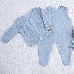 Saída Maternidade Tricot Trança Azul Algodão Doce