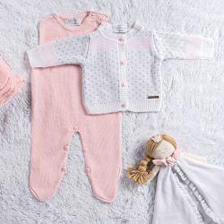 Saída Maternidade Tricot Jacquard Casaquinho Branco/Rosa 03 peças