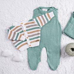 Saída Maternidade Tricot Listra Verde/Bege 3 Peças
