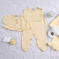 Saída Maternidade Tricot Bolerinho Amarelo Creme 03 Peças