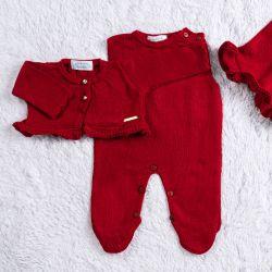 Saída Maternidade Tricot Casaquinho Vermelho Maçã do Amor 03 Peças