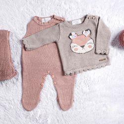 Saída Maternidade Tricot Suéter Raposinha Cinza/Nude Rosé 03 Peças