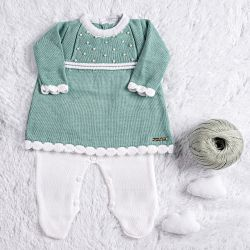 Saída Maternidade Tricot Vestido com Pérolas Verde 03 Peças