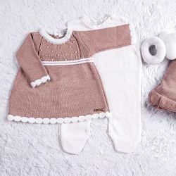 Saída Maternidade Tricot Vestido com Pérolas Nude Rosé 03 Peças