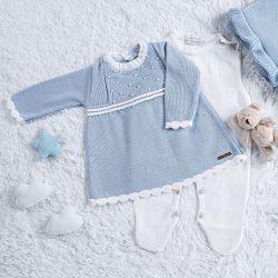 Saída Maternidade Tricot Vestido com Pérolas Azul 03 Peças