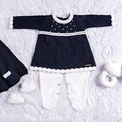 Saída Maternidade Tricot Vestido com Pérolas Azul Marinho 03 Peças