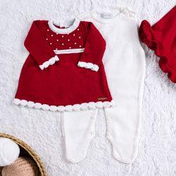 Saída Maternidade Tricot Vestido com Pérolas Vermelho 03 Peças