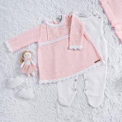Saída Maternidade Tricot Vestido com Pérolas Rosa 03 Peças