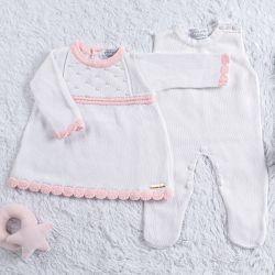 Saída Maternidade Tricot Vestido com Pérolas Branco/Rosa 03 Peças