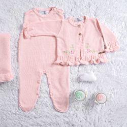 Saída Maternidade Tricot Cardigan Bordado Rosa 03 Peças
