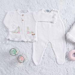 Saída Maternidade Tricot Cardigan Bordado Branco 03 Peças
