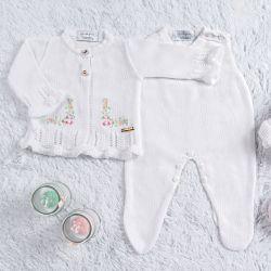 Saída Maternidade Tricot Casaquinho Bordado Branco 03 Peças