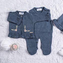 Saída Maternidade Tricot Cardigan Bordado Azul 03 Peças
