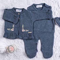 Saída Maternidade Tricot Casaquinho Bordado Azul 03 Peças