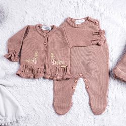 Saída Maternidade Tricot Cardigan Bordado Nude Rosé 03 Peças