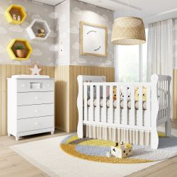 Quarto de Bebê Berço Branco + Cômoda Mila