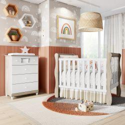 Quarto de Bebê Berço Madeira + Cômoda Mila