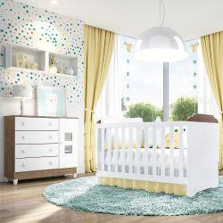 Quarto de Bebê Mel Amadeirado com Berço/Cômoda