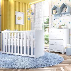 Quarto de Bebê Berço Branco + Cômoda Liz