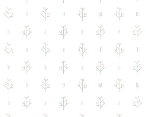 Papel de Parede Setas e Raminhos Verde e Rosa Antigo
