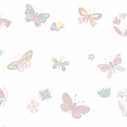 Papel de Parede Borboletas Rosa Antigo e Tons Pastéis