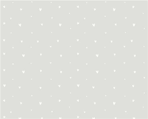 Papel de Parede Corações Mini Fundo Cinza com Branco