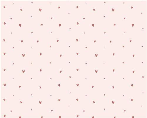 Papel de Parede Corações Mini Fundo Rosa Ballet com Rouge