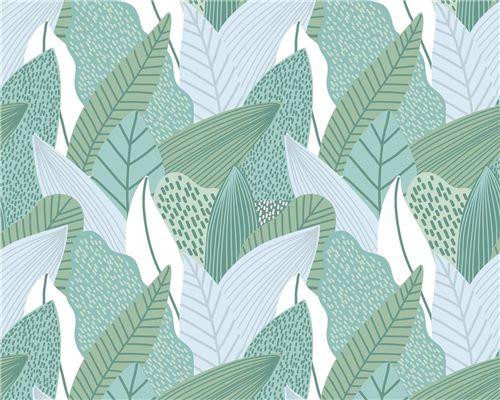 Papel de Parede Tropical Verde com Azul Claro