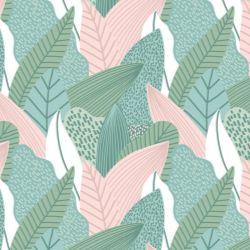 Papel de Parede Tropical Verde com Rosa Ballet