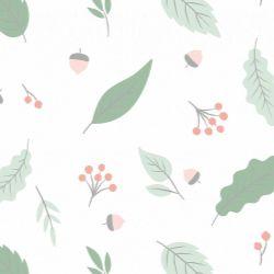 Papel de Parede Outono Verde com Rosa