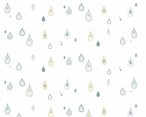 Papel de Parede Gotas Denim, Verde Água e Açafrão