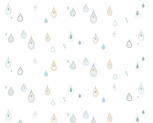 Papel de Parede Gotas Verde Água, Denim e Laranja