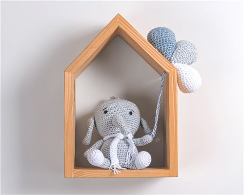 Amigurumi com Casinha Elefantinho Azul